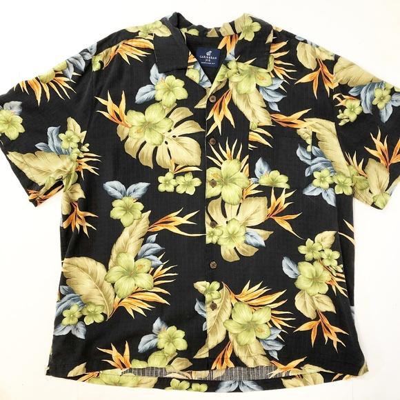 dc96ba2b5 Caribbean Joe Other - Caribbean Joe Men's Silk Hibiscus Hawaiian Shirt